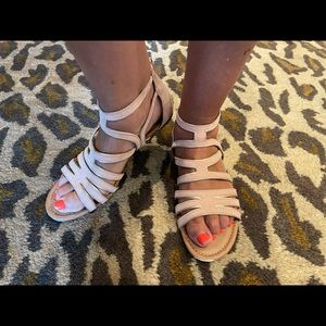 Gladiator pink with gold trim Sandals, size 10